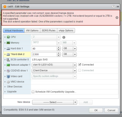 vSphere 6 5: Virtual Disk / VMDK Hot-extend beyond or equal to 2TB
